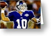 Eli Manning Greeting Cards - Magical Eli Manning Greeting Card by Paul Van Scott