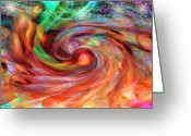Linda-sannuti Art Greeting Cards - Magical Energy Greeting Card by Linda Sannuti
