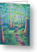 Magic Pastels Greeting Cards - Magical Forest Greeting Card by Cathy Harville