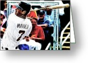 Mlb Mixed Media Greeting Cards - Magical Joe Mauer Greeting Card by Paul Van Scott