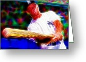 Mickey Mantle Drawings Greeting Cards - Magical Mickey Mantle Greeting Card by Paul Van Scott
