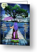 Umbrella Digital Art Greeting Cards - Magical New Orleans Greeting Card by Tammy Wetzel