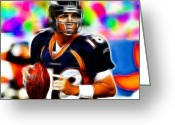 Qb Greeting Cards - Magical Peyton Manning Borncos Greeting Card by Paul Van Scott