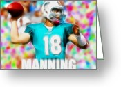 Miami Dolphins Greeting Cards - Magical Peyton Manning Miami Dolphins Greeting Card by Paul Van Scott