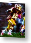 Qb Greeting Cards - Magical RG3 Run Greeting Card by Paul Van Scott