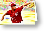 Steven Strasburg Greeting Cards - Magical Stephen Strasburg Greeting Card by Paul Van Scott