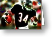 Running Back Greeting Cards - Magical Walter Payton Greeting Card by Paul Van Scott