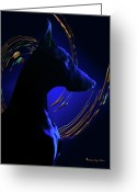 Doberman Greeting Cards - Magnificent Blue Greeting Card by Rita Kay Adams