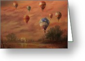 Balloon Festival Greeting Cards - Magnificent Seven Greeting Card by Tom Shropshire