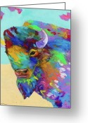 Buffalo Painting Greeting Cards - Magnificent Greeting Card by Tracy Miller