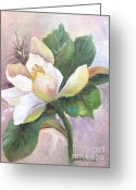 Linen Greeting Cards - Magnolia Blossom Greeting Card by Barbara Haviland