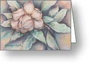 Flower Blossom Pastels Greeting Cards - Magnolia Blossom in Pastel Greeting Card by Deborah Willard