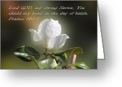 Flower Blossom Greeting Cards - Magnolia Ps. 140v7 Greeting Card by Linda Phelps