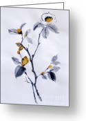 E Black Greeting Cards - Magnolia Greeting Card by Sibby S
