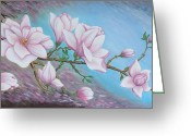 Pink Flower Branch Painting Greeting Cards - Magnolias branch Greeting Card by M S