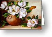 Dominica Alcantara Greeting Cards - Magnolias in a Clay Pot Greeting Card by Dominica Alcantara