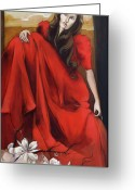 Ribbon Greeting Cards - Magnolias Red Dress Greeting Card by Jacque Hudson-Roate