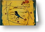 Blue Tapestries - Textiles Greeting Cards - Magpie Framed in Maple Greeting Card by Carolyn Doe