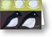 Wildlife Greeting Cards Prints Painting Greeting Cards - Magpies Greeting Card by Patrick J Murphy