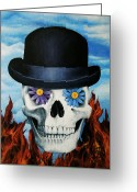 Bowler Hat Painting Greeting Cards - Magritte Bowler Hat Skull Greeting Card by Johanna Uribes