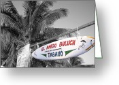 Travelpixpro Greeting Cards - Mahahual Mexico Surfboard Sign Color Splash Black and White Greeting Card by Shawn OBrien