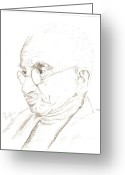 March Drawings Greeting Cards - Mahatma Gandhi Greeting Card by Priya Paul