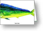 Dolphin Greeting Cards - Mahi Mahi Greeting Card by Charles Harden