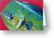Jon Ferrentino Greeting Cards - Mahi Mahi Greeting Card by Jon Ferrentino