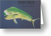 Fish Art Pastels Greeting Cards - Mahi-Mahi Greeting Card by Katharina Filus