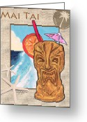 Island Artist Pastels Greeting Cards - Mai Tai Greeting Card by William Depaula