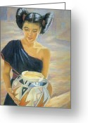 Maiden Pastels Greeting Cards - Maiden of the Mesa Greeting Card by Ann Peck