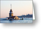 Byzantine Greeting Cards - Maiden Tower in Istanbul Greeting Card by Artur Bogacki