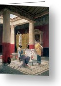 Luigi Greeting Cards - Maidens in a Classical Interior Greeting Card by Luigi Bazzani