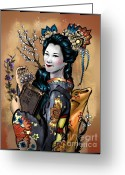 Maiko Greeting Cards - Maiko Comic Version Greeting Card by Consuelo Venturi