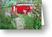 Transportation Tapestries - Textiles Greeting Cards - Mail Car Guest House at LaCaboose B and B Greeting Card by Charlene White