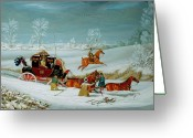 Winter Travel Greeting Cards - Mail Coach in the Snow Greeting Card by John Pollard