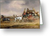 Coaching Greeting Cards - Mail Coaches on the Road - The Louth-London Royal Mail Progressing at Speed Greeting Card by Charles Cooper Henderson