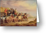 Carriage Team Greeting Cards - Mail Coaches on the Road - The Quicksilver  Greeting Card by Charles Cooper Henderson