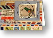 Postage Stamp Greeting Cards - Mail Collage South Africa Greeting Card by Carol Leigh