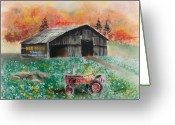 West Pastels Greeting Cards - Mail Pouch Barn West Virginia 3 Greeting Card by Paul Cubeta