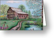 Color Pencils Greeting Cards - Mail Pouch Tobacco Barn Greeting Card by Lena Auxier