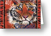 Postage Stamp Greeting Cards - Mail Tail Greeting Card by Debbie McCulley
