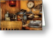 Messenger Greeting Cards - Mailman - In the Office Greeting Card by Mike Savad