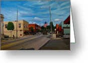 Patriotism Painting Greeting Cards - Main Street Clayton NC Greeting Card by Doug Strickland