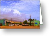Molokai Greeting Cards - Main Street Kaunakakai Greeting Card by James Temple