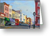 Clock Greeting Cards - Main Street Nayck  NY  Greeting Card by Ylli Haruni