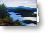 Maine Painting Greeting Cards - Maine Bay Islands  Greeting Card by Laura Tasheiko