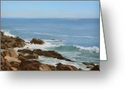 Maine Painting Greeting Cards - Maine Coast Greeting Card by Linda Tenukas
