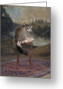 Coon Greeting Cards - Maine Coon Cat Sitting On Chair Greeting Card by Rosanne Olson