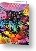 Colorful Mixed Media Greeting Cards - Maine Coon Greeting Card by Dean Russo